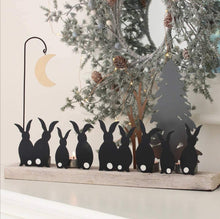 Load image into Gallery viewer, Shoeless Joe Moon struck rabbits candle holder decoration