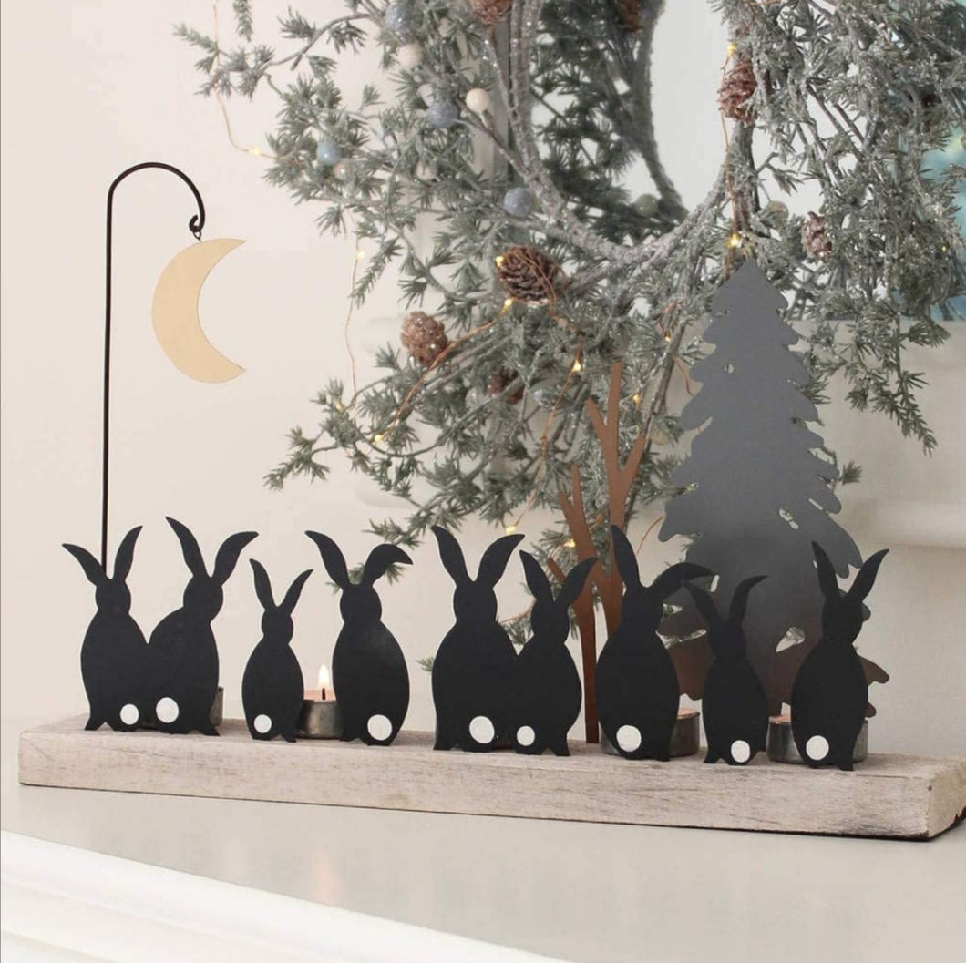 Shoeless Joe Moon struck rabbits candle holder decoration