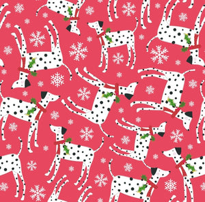 Festive Dalmations Christmas wrapping paper and gift tags