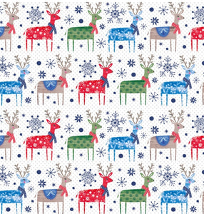 Colourful Reindeer Christmas wrapping paper and gift tags