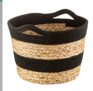 Sass and Belle black rope and grass stripe belly basket