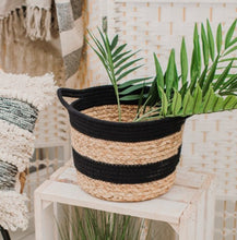 Load image into Gallery viewer, Sass and Belle black rope and grass stripe belly basket