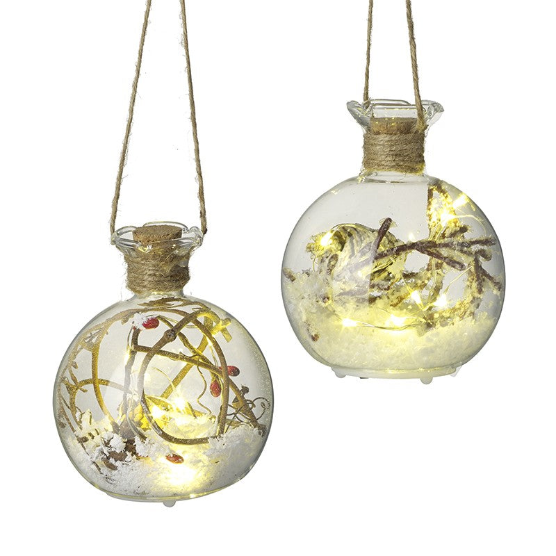 Set of 2 Snowy Glass led light up Christmas Baubles