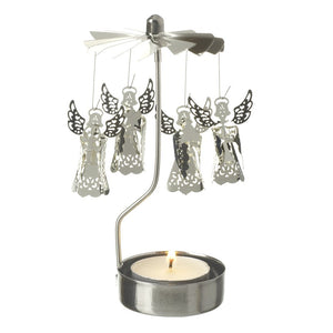 Silver Spinning Fairy tealight candle holder - Christmas