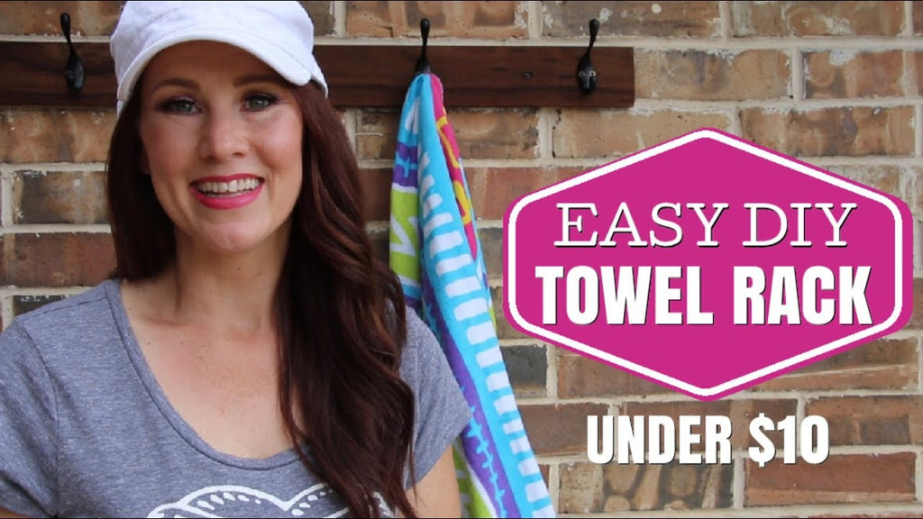 Hi! Today I am sharing with you MY DIY TOWEL RACK! This is such an easy DIY and you can do it for under $10