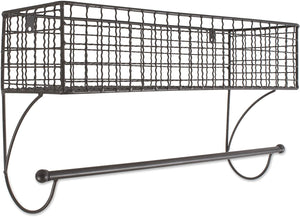 Home Traditions Z02223 Rustic Metal Wall Mount Shelf with Towel Bar, Large, Gray $15.99