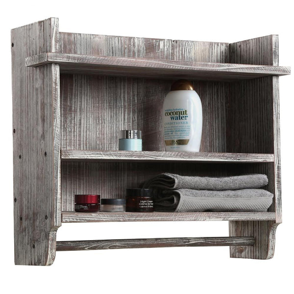Wall Mounted Wood Bathroom Organizer Rack w/ 3 Shelves & Hanging Towel Bar