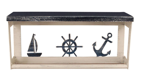 "Nautical 18"" Towel Bar Shelf with Sailboat, Anchor, Ship Wheel"