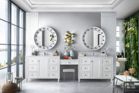 "Copper Cove Encore 122"", James Martin Bright White Bathroom Vanity, double sink"