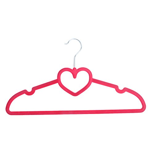 Alightup Premium Quality Flocking Velvet Hangers (Set of 50) - Ultra Thin Anti-Slip Velvet Clothes Suit Hangers - Love Shape - Space Saving Clothes Hangers - Rose Red