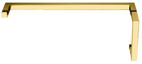 "C.R. LAURENCE SQ8X24BR CRL Polished Brass ""SQ"" Series Combination 8"" Pull Handle 24"" Towel Bar"