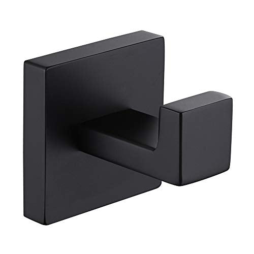 Bath Robe Hook Matte Black, APLusee Stainless Steel Square Shower Towel Hook Contemporary Coat Holder, Home Kitchen Toilet Storage Cloth Hanger