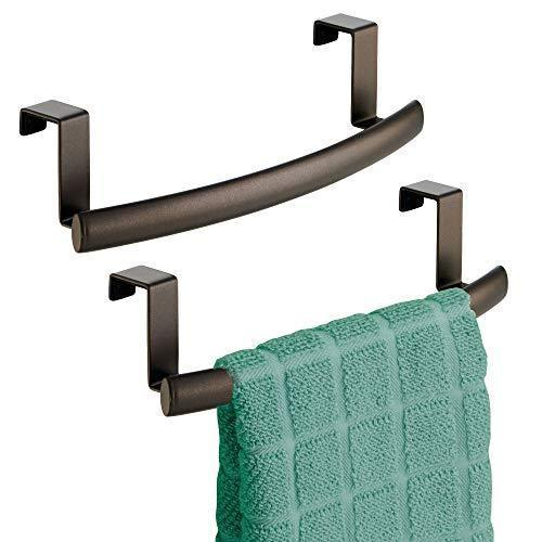 "mDesign Modern Metal Kitchen Storage Over Cabinet Curved Towel Bar - Hang on Inside or Outside of Doors, Organize and Hang Hand, Dish, and Tea Towels - 9.7"" Wide, 2 Pack - Bronze"