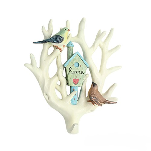 Bueer Creative Bird and Branches Design Hooks Wall Mounted Hanger for Cloth Coat Scarf Towel Bag Key Wall Hooks Rack Holder Wall Hooks Resin Hanger Rack Bathroom Kitchen Decoration Wedding Gift