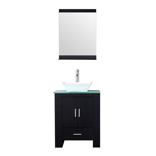 WALCUT 24 Inch Bathroom Vanity and Sink Combo Modern Black MDF Cabinet Ceramic Vessel Sink with Faucet and Pop Up Drain Mirror Tempered Glass Counter Top