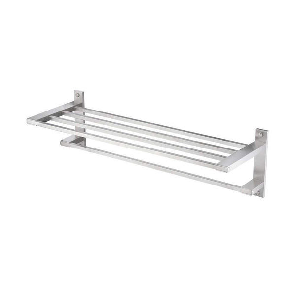 "KES SUS304 Stainless Steel 22"" Hotel Towel Rack Bathroom Shelf Shower Towel Bar Rust Proof Wall Mount Contemporary Style Space Saving for Multi Hand Towels Brushed Finish, A2410S60-2"