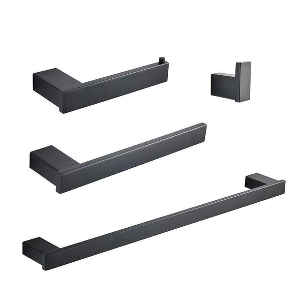 Whifea Bathroom Hardware Set, 4 Piece Wall Mounted Shelves, Stainless Steel Towel Bars, Toilet Paper Holder, Robe Hook, Bathroom Fixture Set, Matte Black
