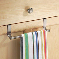 Kozanay Towel Bar with Hooks for Bathroom and Kitchen, Brushed Stainless Steel Towel Hanger Over Cabinet Door