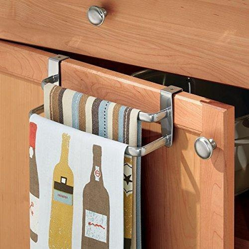 "mDesign Modern Kitchen Over Cabinet Strong Steel Double Towel Bar Rack - Hang on Inside or Outside of Doors, Storage and Organization for Hand, Dish, Tea Towels - 9.75"" Wide, Silver Finish"