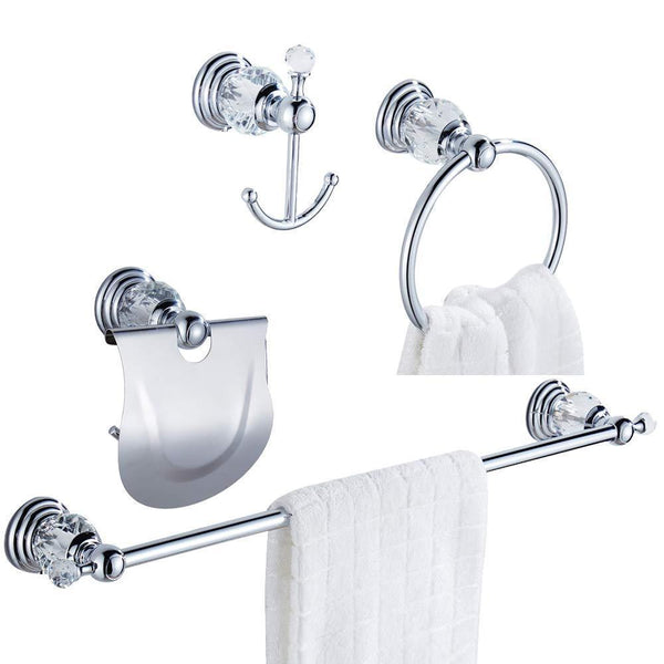 WOLIBEER Silver Bathroom Accessory Set of 4 Pieces - Towel Hook Towel Rail Towel Holder Roll Tissue Holder, Wall Mounted Zinc Alloy Construction with Crystal Chrome Finished