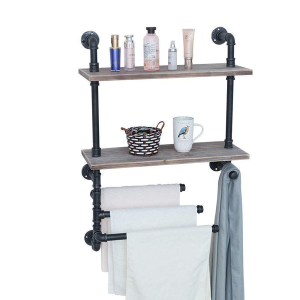 Industrial Towel Rack With 3 Towel Bar,24in Rustic Bathroom Shelves Wall Mounted,2 Tiered Farmhouse Black Pipe Shelving Wood Shelf,Metal Floating Shelves Towel Holder,Iron Distressed Shelf Over Toilet