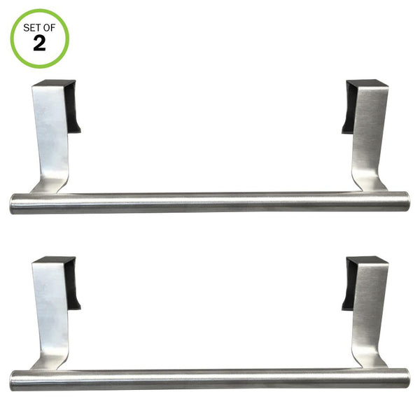 Evelots Towel Bars-Kitchen-Bathroom-In or Out Cabinet Door-Stainless -Set of 2