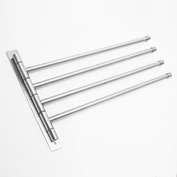 "Swivel Towel Rack - Stainless Steel Swing Out Towel Bar - Space Saving Swinging Towel Bar for Bathroom - Wall Mounted Towel Holder Organizer with 4 Arms- Easy To Install - Brushed Finish (17""X10"")"