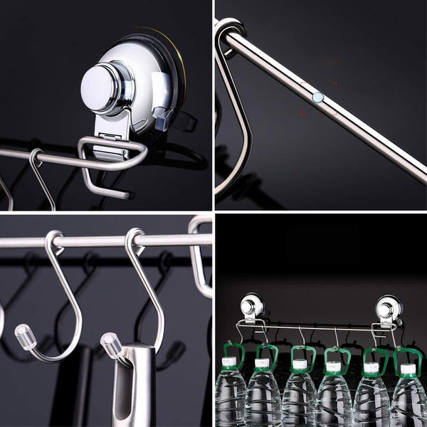 YamaziHD Strong Stainless Steel Towel Shower Rack Hook, Vacuum Suction Cup Wall Mounted Rack Bar Rail Hanger with 6 Sliding Hooks for Kitchen and Bathroom Tools