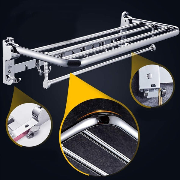 DDSS Towel rack - Stainless Steel, Multi-Function, Foldable, Perforated, Bathroom Shelf, Suitable for: Bathroom / (Color : C)