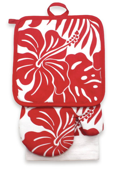 3 Pc Kitchen Towel Set - Red Floral