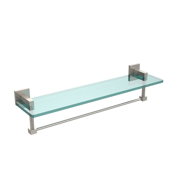 Allld|#Allied Brass MT-1-22TB-SN Montero Collection 22 Inch Glass Vanity Shelf with Integrated Towel Bar,