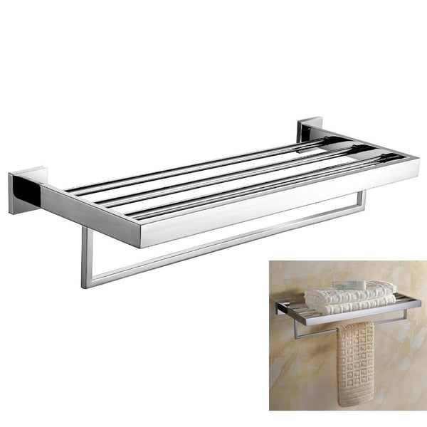 Deluxe 24-Inch 304 Stainless Steel Bathroom Dual Layers Towel Bar Shelves Holder, Chrome Polishing Mirror Polished Wall Mounted
