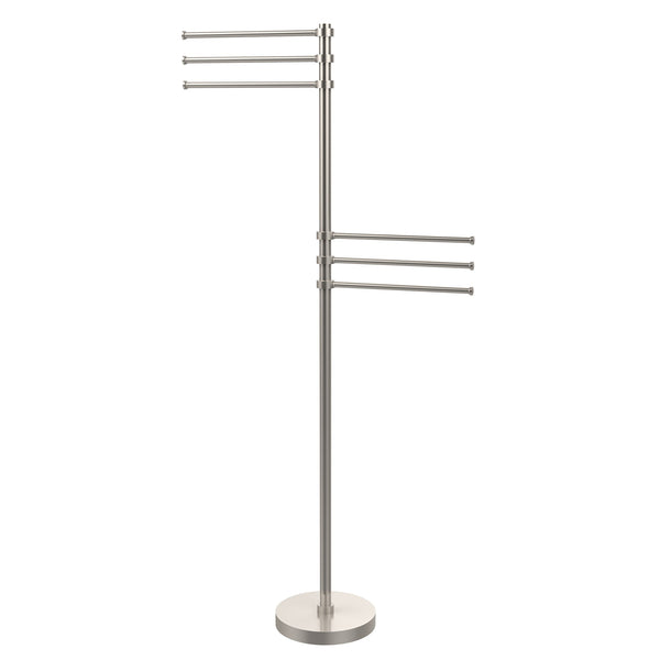 Allied Brass TS-50-SN 49-Inch Towel Stand with 6 12-Inch Arms, Satin Nickel