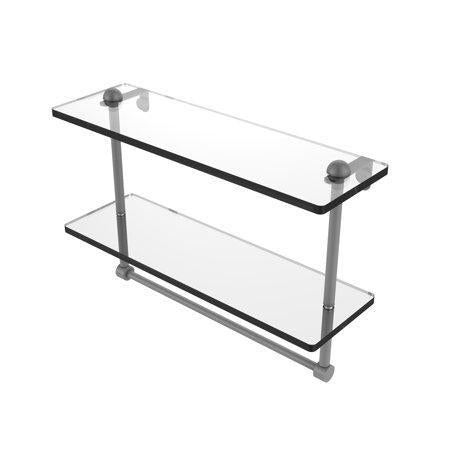 16 Inch Two Tiered Glass Shelf with Integrated Towel Bar