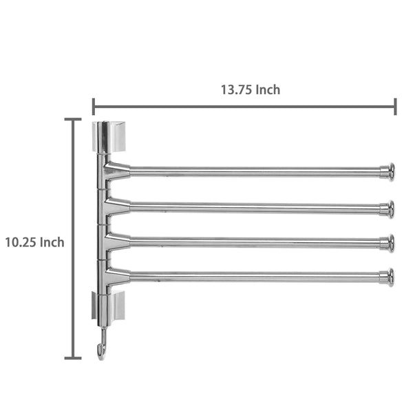 MyGift Wall Mounted Stainless Steel Swivel Towel Bar/4 Swing Arm Hand Towel Drying Rack for Bathroom and Kitchen