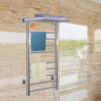 "FDInspiration 35.5"" Electric Wall Mounted Stainless Steel Bathroom Towel Warmer Dryer Heated Rail w/ 9 Bars & Top Shelf Rack with Ebook"