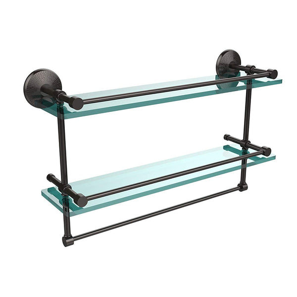Allied Brass MC-2TB/22-GAL-ORB 22 Inch Gallery Double Glass Shelf with Towel Bar Oil Rubbed Bronze