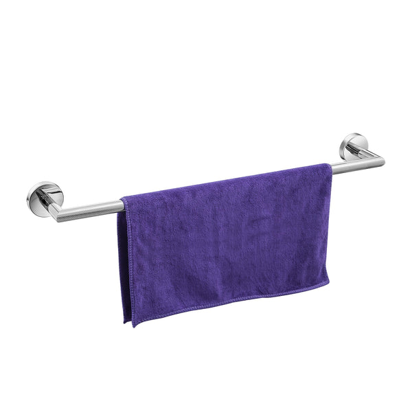 QT Home Decor Single Towel Bar w/Round Base (24 Inches)- Luxurious Modern - Shiny/Polished Finish, Made from Stainless Steel, Water Rust Proof, Wall Mounted, Easy to Install