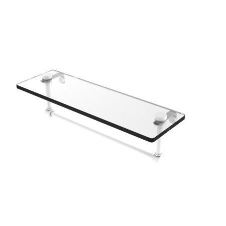 16 Inch Glass Vanity Shelf with Integrated Towel Bar