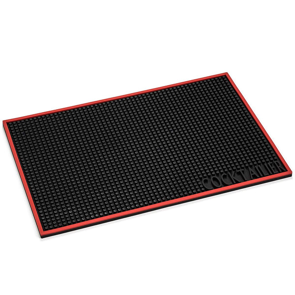 Cocktailier Professional Rubber Restaruant Bar Counter Spill Mat, 18 x 12 inch, Black with Red Trim