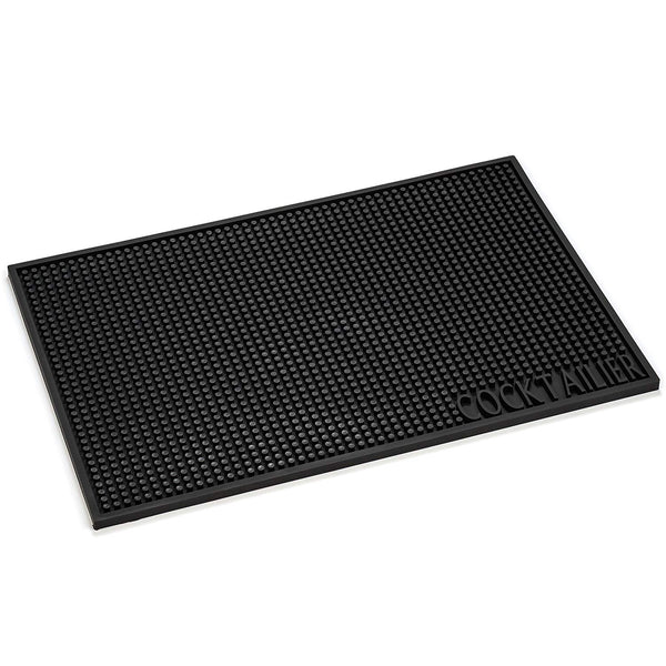 Cocktailier Professional Rubber Bar Service Spill Mat, An Essential Bar Accessory 18 x 12 in, Black