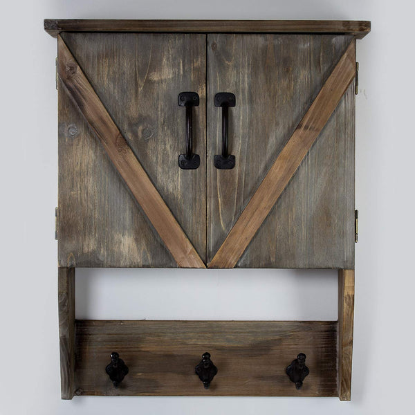 American Art Décor Rustic Wood Storage Cabinet with Shelves and Hooks - Vintage Country Farmhouse Décor