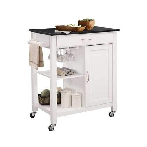 Kitchen Cart In Black And White - Rubber Wood, Mdf Black And White