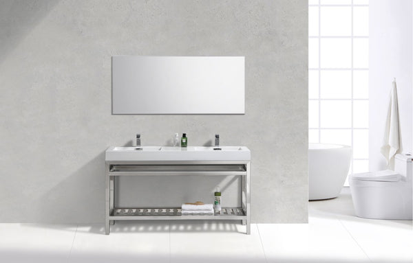 "Cisco 60"", Kube Chrome Modern Bathroom Vanity, Double Sink"