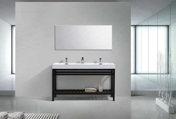 "Cisco 60"", Kube Matte Black Modern Bathroom Vanity, Double Sink"