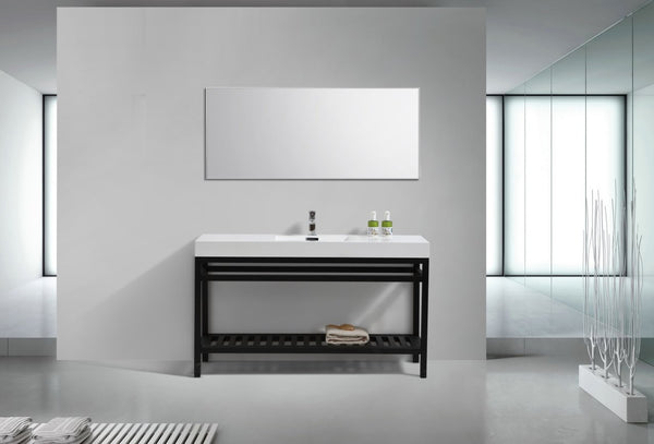 "Cisco 60"", Kube Matte Black Modern Bathroom Vanity"