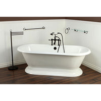 "72"" Freestanding Tub with Oil Rubbed Bronze Tub Faucet & Hardware Package CTP28"