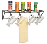 4 MUG SINGLE SHELF RACK - Wrought Iron Wall Mount Organizer