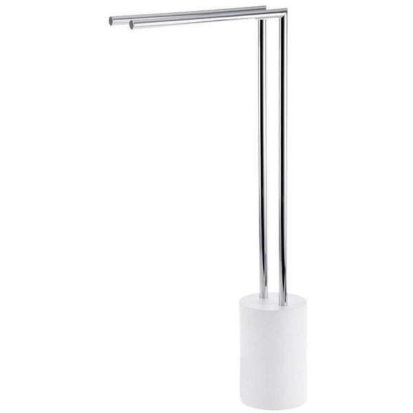 DWBA Stone Standing Towel Rack Stand Bar 2-tier Double Bar Holder Chrome, White