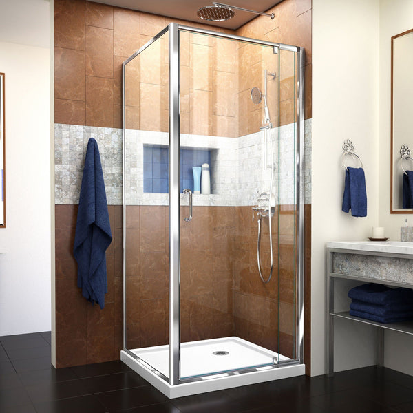Flex 32 in. D x 32 in. W x 74 3/4 in. H Semi-Frameless Pivot Shower Enclosure in Chrome with Corner Drain White Base